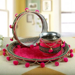 Karwa Chauth Thali Decorated In Pink