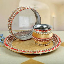 Decorted Karwa Chauth Thali Golden