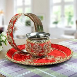 Decorated Karwa Chauth Thali Red Gold