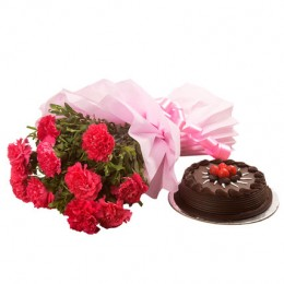Chocolate Cake N Flowers Combo eggless