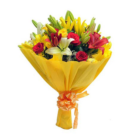 Mixed Roses N Lilies Standard