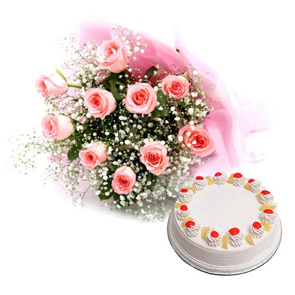 Flower and Cake Hamper Combo Eggless