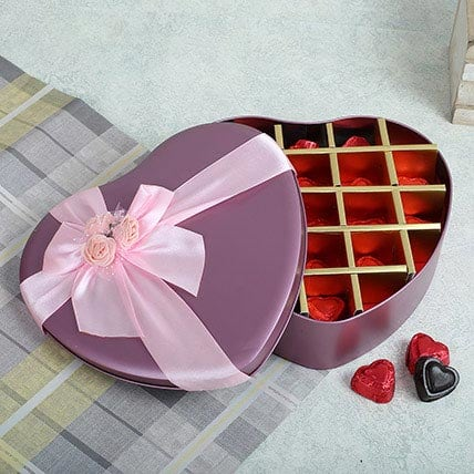 Assorted Chocolates Pink Heart Box