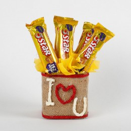 I Love You Five Star Chocolates Vase Arrangement
