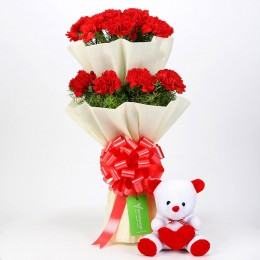Teddy Bear & Two Layer Red Carnations Bouquet