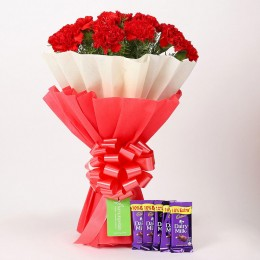 12 Red Carnations Bouquet & Cadbury Dairy Milk