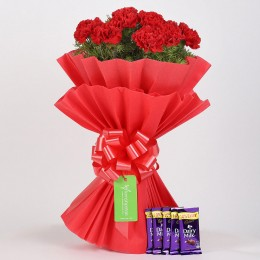 12 Vibrant Red Carnations & Cadbury Dairy Milk