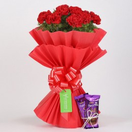 12 Beautiful Red Carnations & Dairy Milk Silk