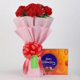 20 Beautiful Red Carnations & Cadbury Celebrations