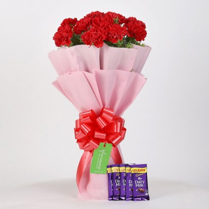 12 Beautiful Red Carnations & Dairy Milk Chocolate