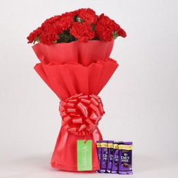 20 Vibrant Red Carnations & Dairy Milk Chocolate