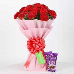20 Beautiful Red Carnations & Cadbury Dairy Milk