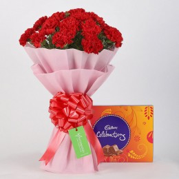 20 Vibrant Red Carnations & Cadbury Celebrations