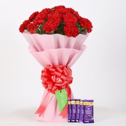 20 Beautiful Red Carnations & Dairy Milk Chocolate