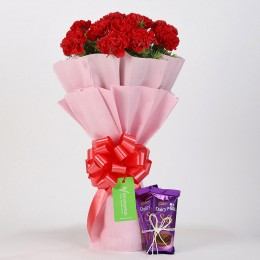 12 Vibrant Red Carnations & Dairy Milk Silk