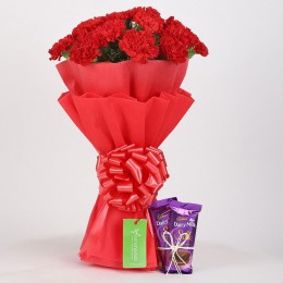 20 Vibrant Red Carnations & Dairy Milk Silk Combo