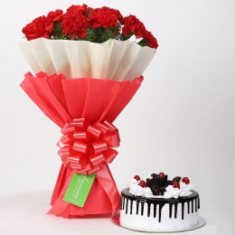 12 Red Carnations & Black Forest Cake Combo
