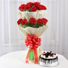 Two Layer Red Carnations With Black Forest Cake