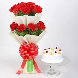 Two Layer Carnations Bouquet With Pineapple Cake