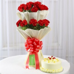 Two Layer Red Carnations With Butterscotch Cake