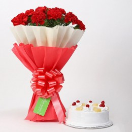12 Red Carnations & Pineapple Cake Combo