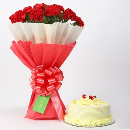 12 Red Carnations & Butterscotch Cake Combo