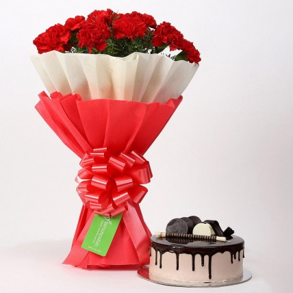 12 Red Carnations & Chocolate Cake Combo