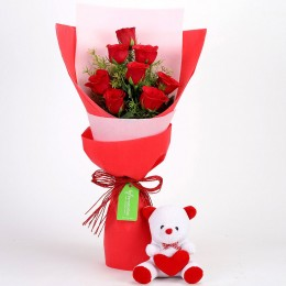 8 Red Roses Bouquet & Teddy Bear Combo