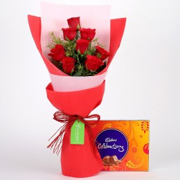 8 Red Roses with Cadbury Celebrations Combo