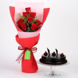 8 Red Roses with Truffle Cake Combo