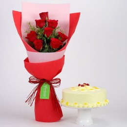 8 Red Roses with Butterscotch Cake Combo
