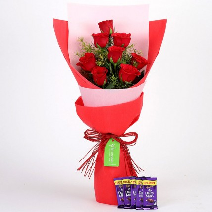 8 Red Roses with Dairy Milk Combo