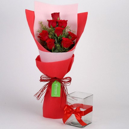 8 Red Roses with Glass Vase Combo