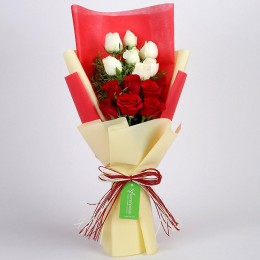 Beautiful Red & White Roses Bouquet