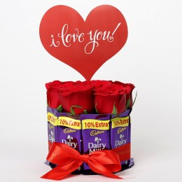 Red Roses & Dairy Milk Arrangement