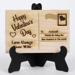 Happy V Day Wooden Post Card