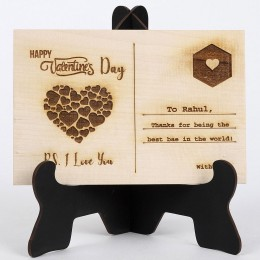 V Day Love You Wooden Post Card