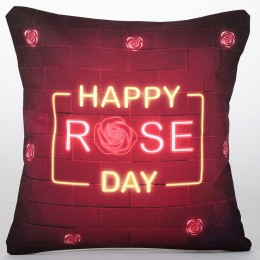 Happy Rose Day LED Cushion