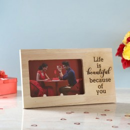 Life is Beautiful Engraved Wooden Frame