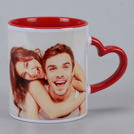 Personalised Red Heart Handle Mug