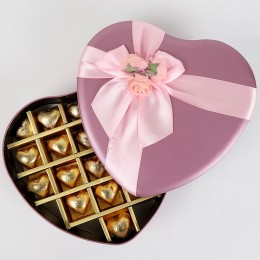 Handmade Chocolates in Pink Heart Box