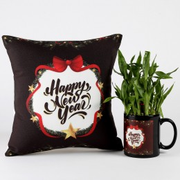 Happy New Year Two Layer Lucky Bamboo Plant Combo