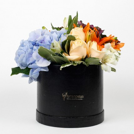 Beautiful Black Box of Mixed 9 Exotic Flowers