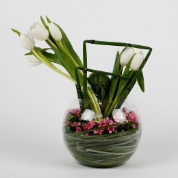 Exotic Tulips Bouvardia Glass Bowl Arrangement