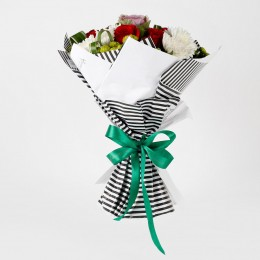 Red Roses Green Button Flowers Stylish Bouquet