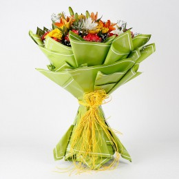 Orange Carnations Chrysanthemums Bouquet