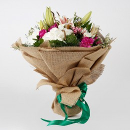 Exotic 32 Mixed Flowers Jute Wrapped Bouquet