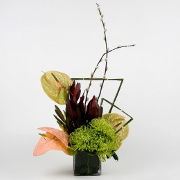 Anthuriums Sunset Safari Flowers in Glass Vase