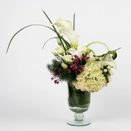 White Calla Lilies Roses in Glass Vase