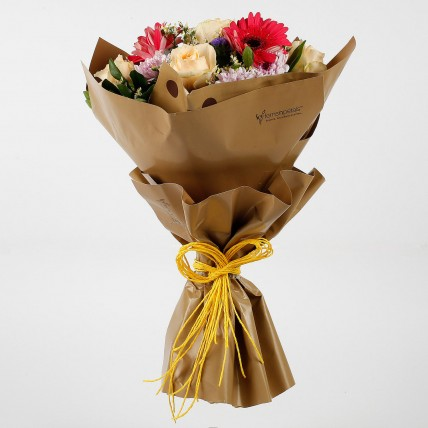 Peach Roses Pink Daisies Exotic Bouquet